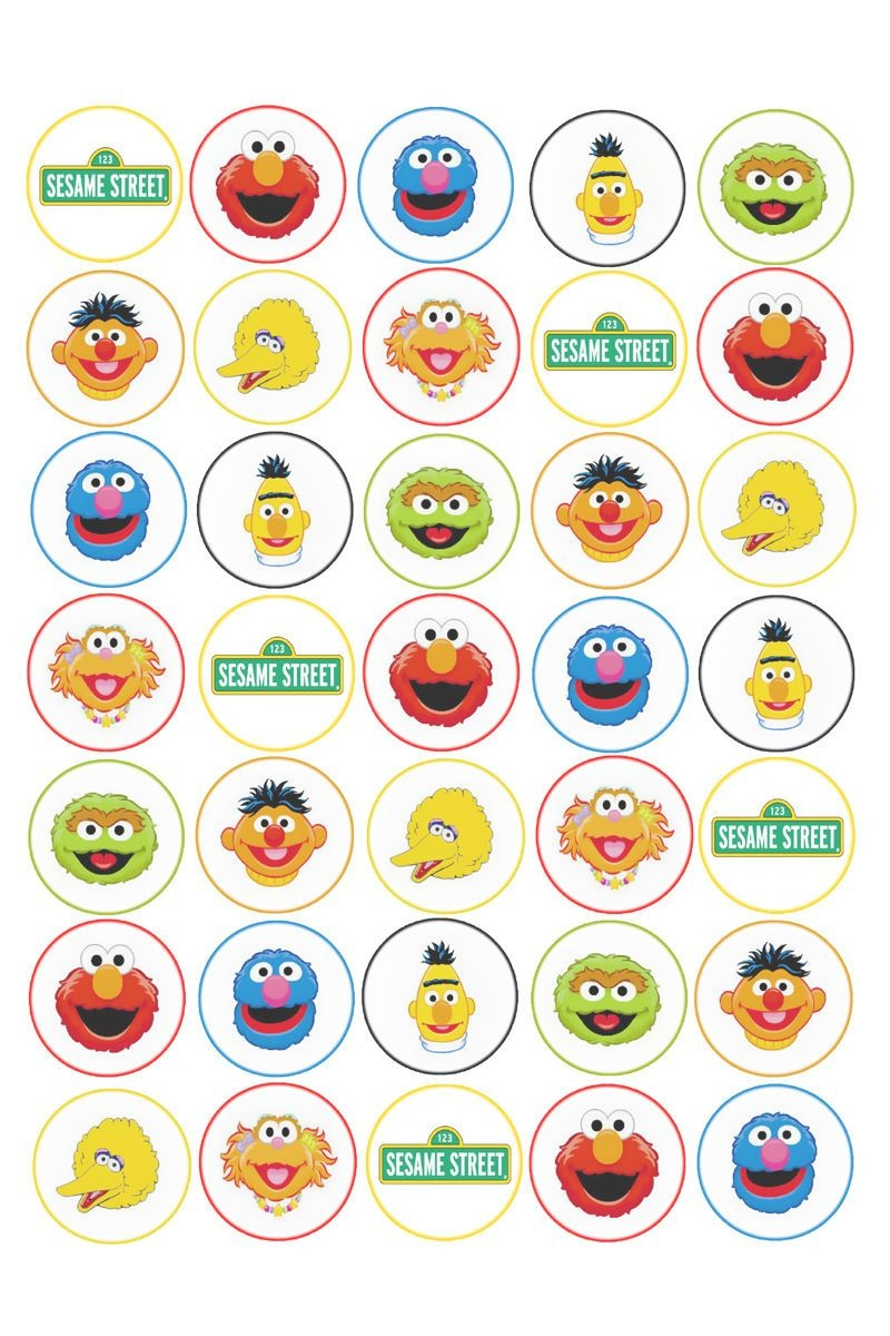 35 X Sesame Street Edible Rice/wafer Cupcake Toppers In Home - Free Printable Sesame Street Cupcake Toppers