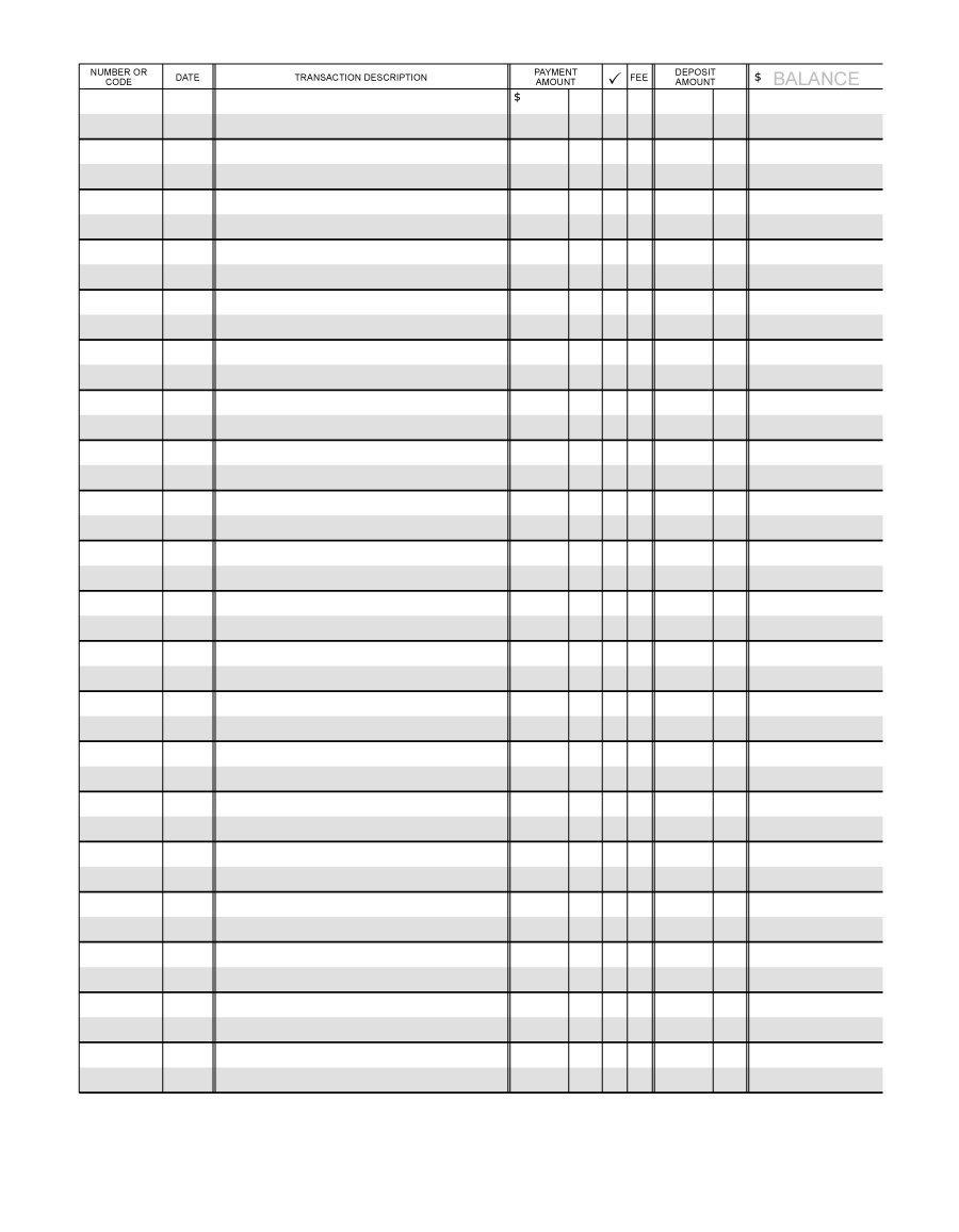 37 Checkbook Register Templates [100% Free, Printable] ᐅ Template Lab - Free Printable Blank Check Register Template
