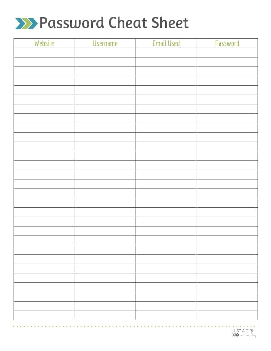 39 Best Password List Templates (Word, Excel & Pdf) ᐅ Template Lab - Free Printable Password Log