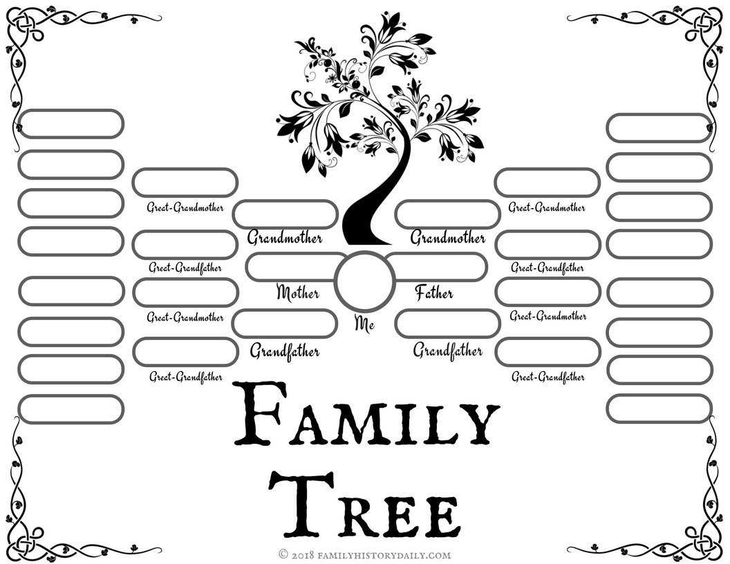 4 Free Family Tree Templates For Genealogy, Craft Or School Projects - Free Printable Family Tree Template 4 Generations