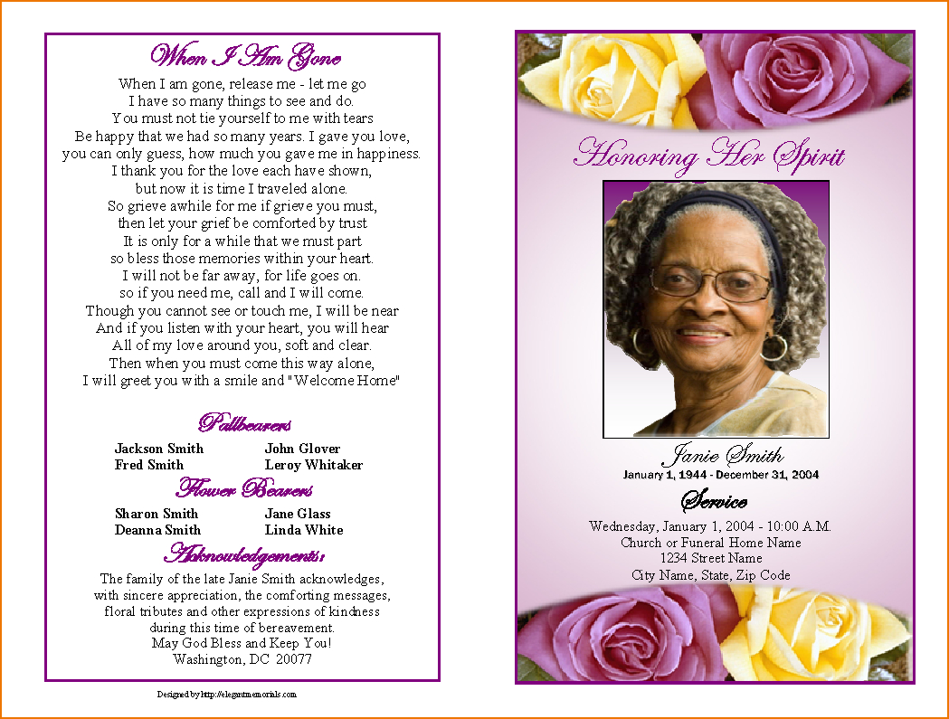 4+ Funeral Programs Template | Teknoswitch - Free Printable Funeral Programs