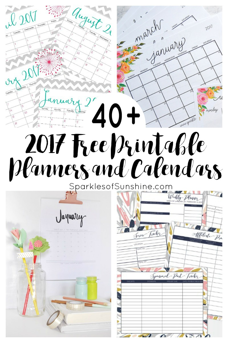 40+ Awesome Free Printable 2017 Calendars And Planners - Sparkles Of - Free 2017 Printable