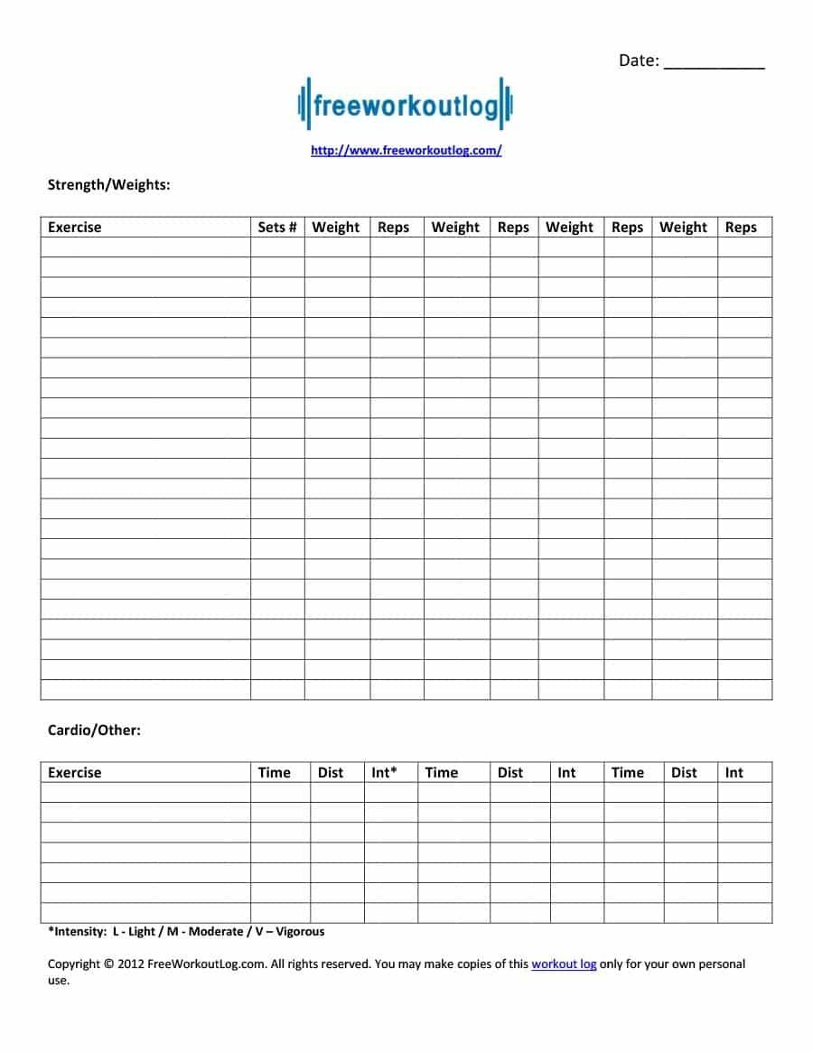 40+ Effective Workout Log & Calendar Templates ᐅ Template Lab - Free Printable Workout Journal
