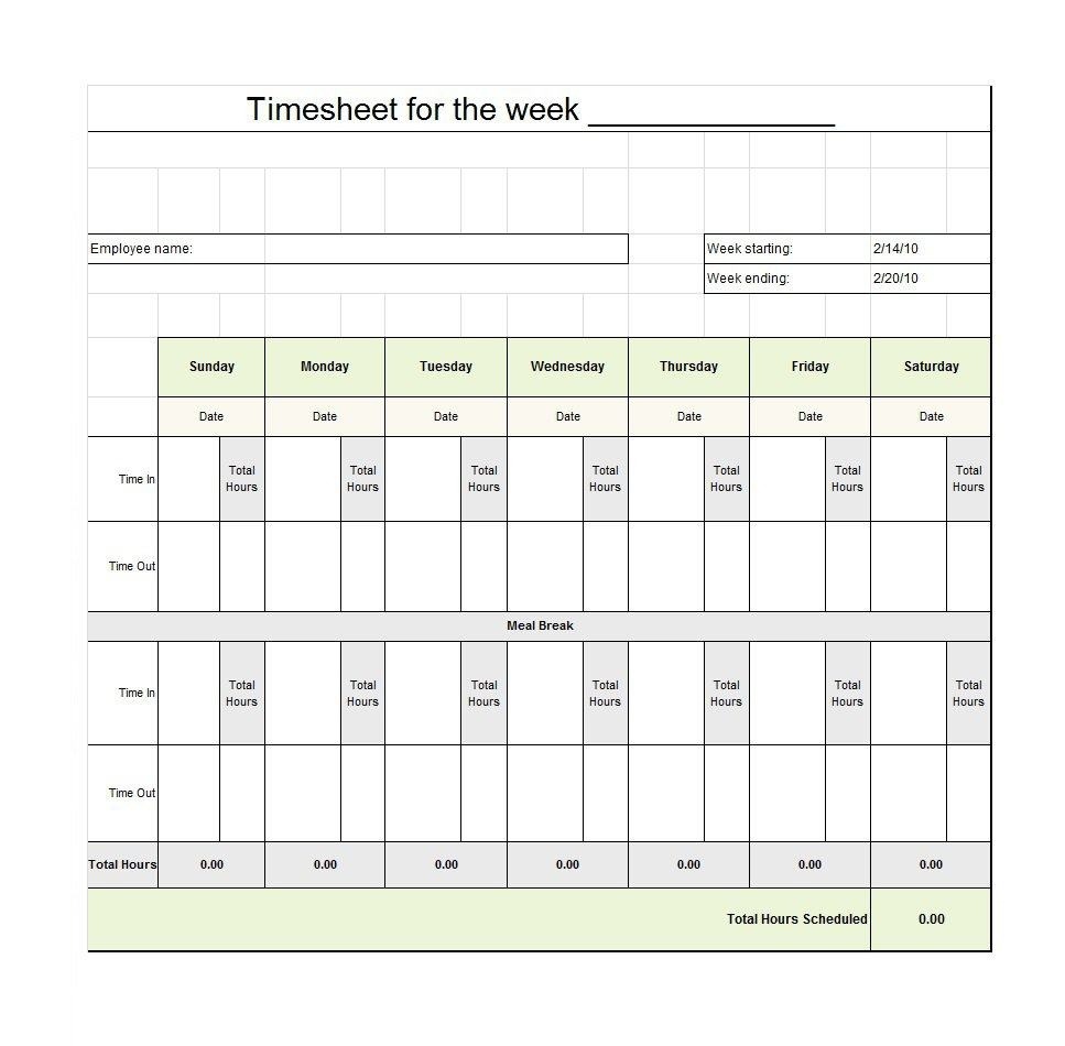 40 Free Timesheet / Time Card Templates ᐅ Template Lab - Free Printable Time Sheets Forms