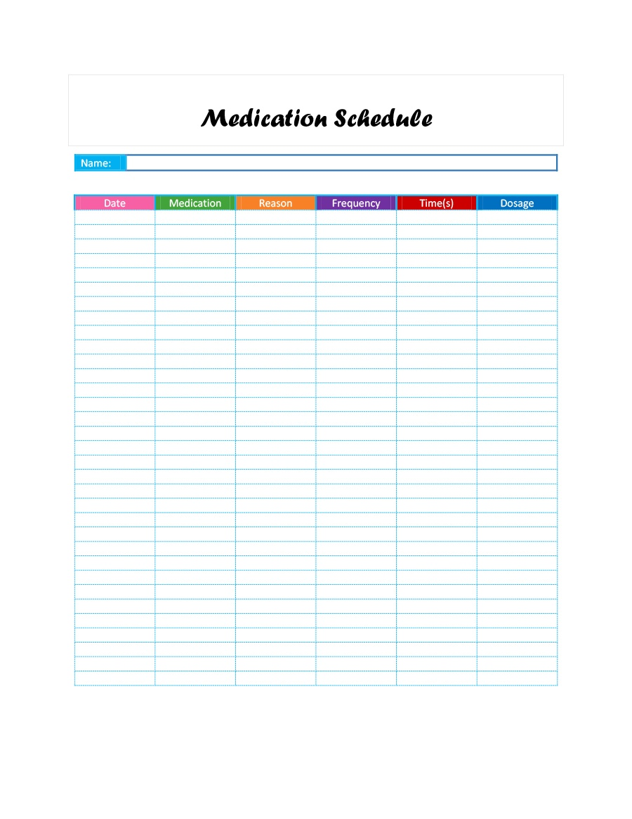 40 Great Medication Schedule Templates (+Medication Calendars) - Free Printable Medication Chart