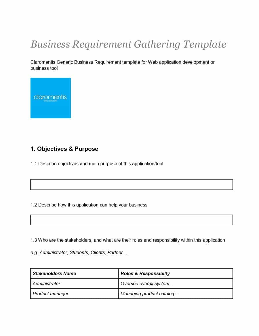 40+ Simple Business Requirements Document Templates ᐅ Template Lab - Free Printable Business Documents
