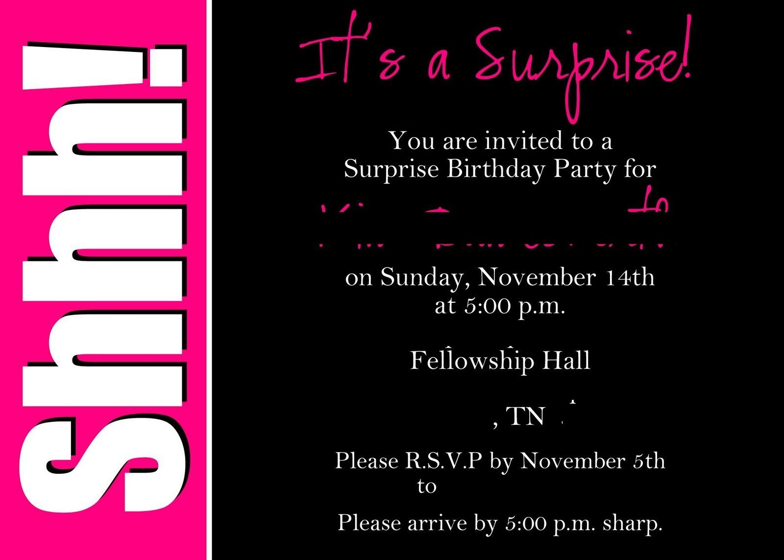 40Th Surprise Birthday Party Invitations | Free Printable Birthday - Free Printable Surprise Party Invitation Templates