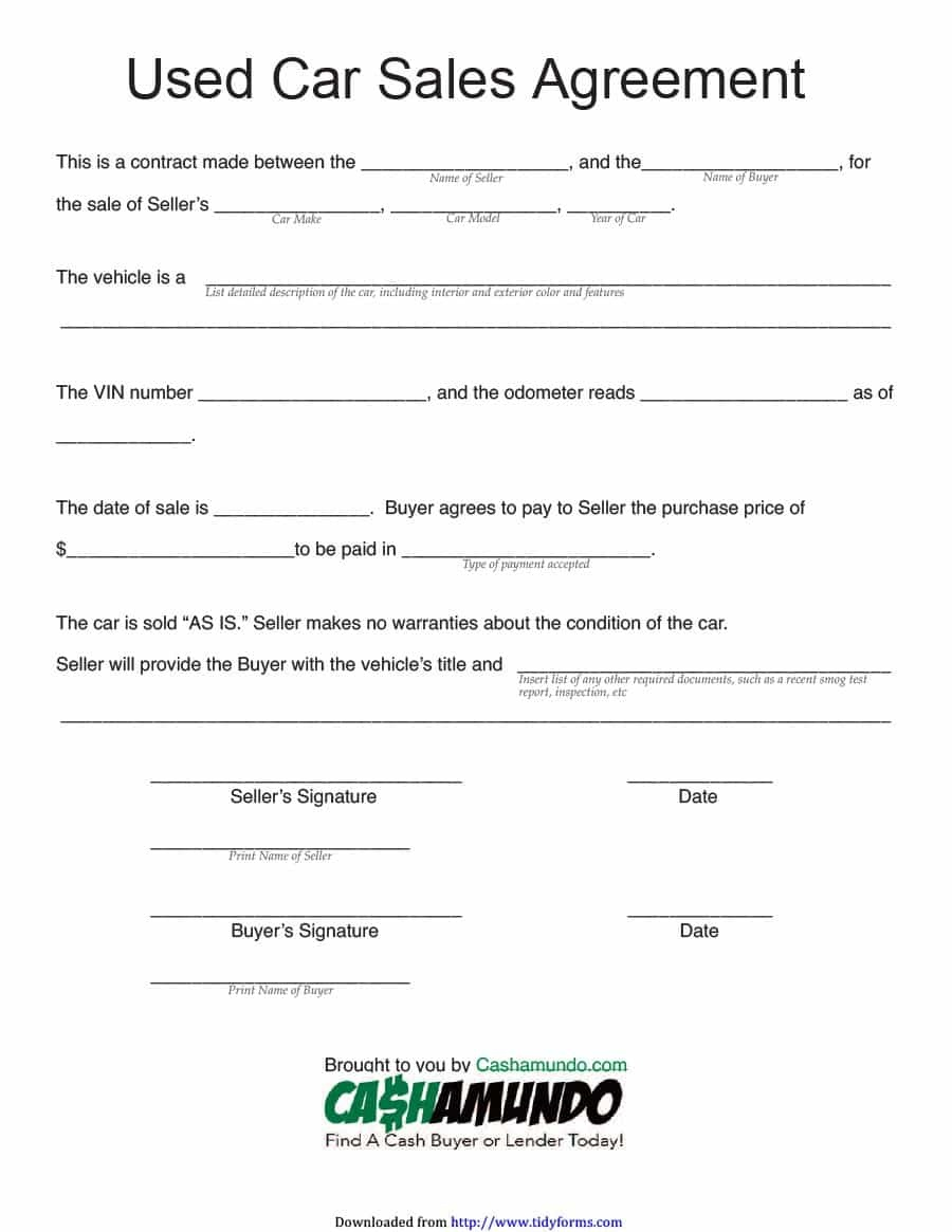 42 Printable Vehicle Purchase Agreement Templates ᐅ Template Lab - Free Printable Purchase Agreement Template