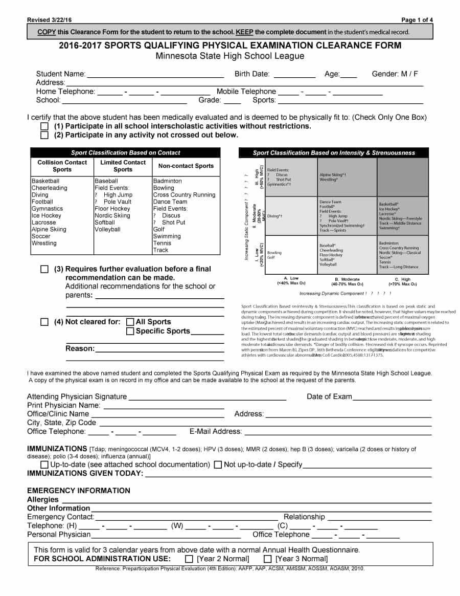 43 Physical Exam Templates & Forms [Male / Female] - Free Printable Physical Exam Forms