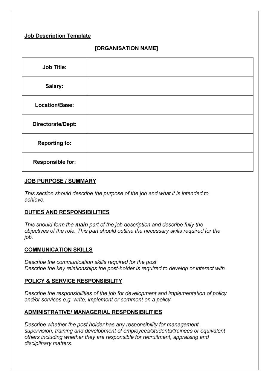 47 Job Description Templates & Examples ᐅ Template Lab - Free Printable Job Description Template