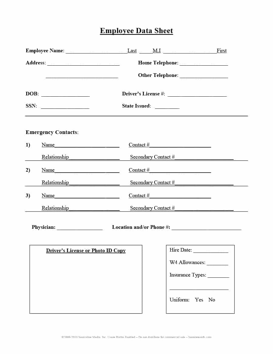 47 Printable Employee Information Forms (Personnel Information Sheets) - Free Printable Data Sheets