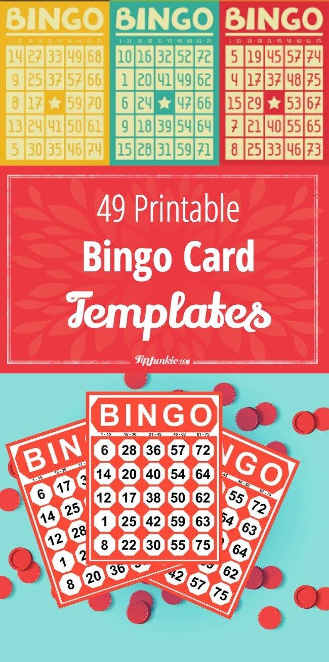 49 Printable Bingo Card Templates – Tip Junkie - Free Printable Number Bingo Cards 1 20