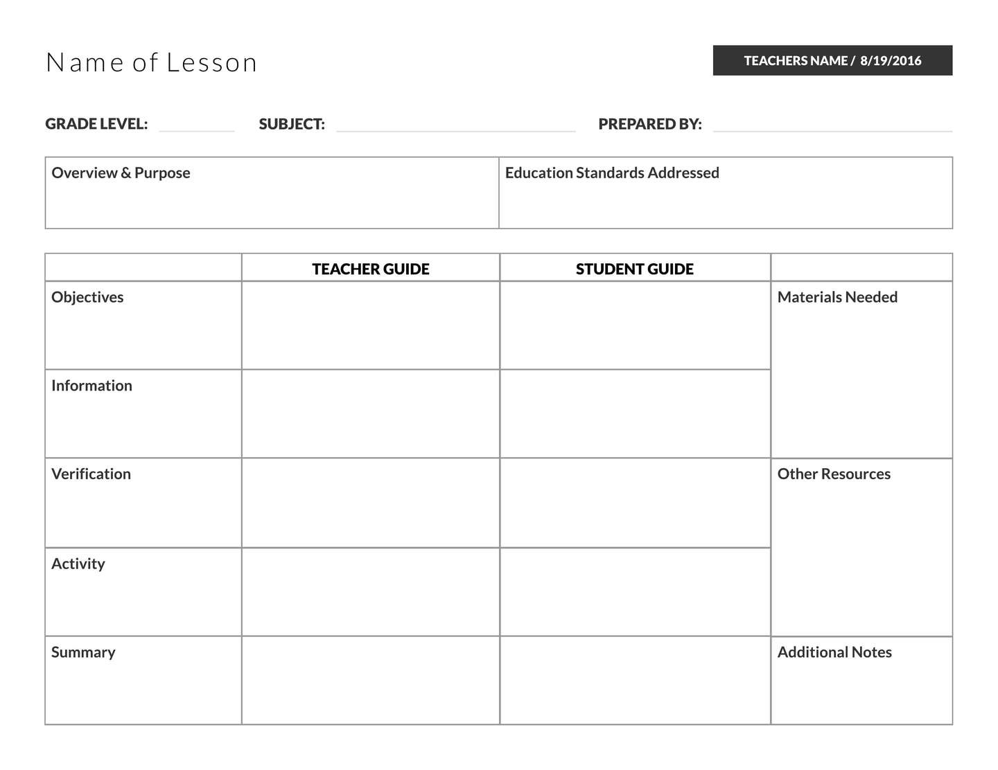 5 Free Lesson Plan Templates & Examples - Lucidpress - Free Printable Blank Lesson Plan Pages