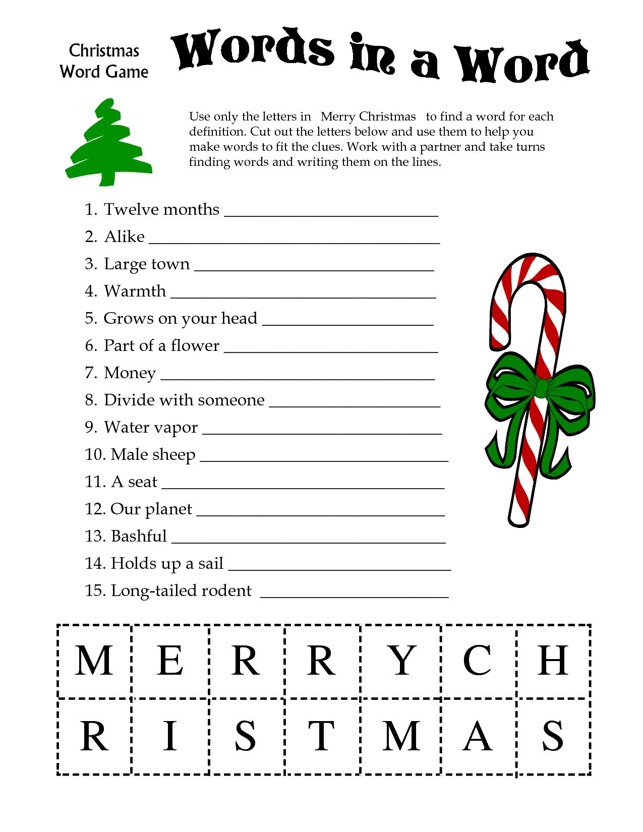 5 Images Of Free Printable Christmas Word Games   Printablee - Free Printable Christmas Puzzles
