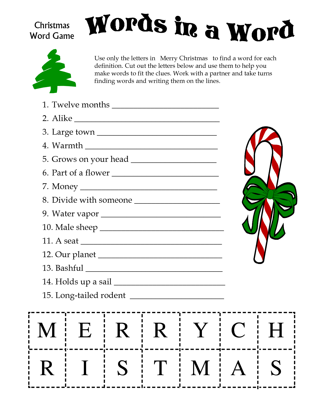 5 Images Of Free Printable Christmas Word Games   Printablee - Free Printable Christmas Word Games For Adults