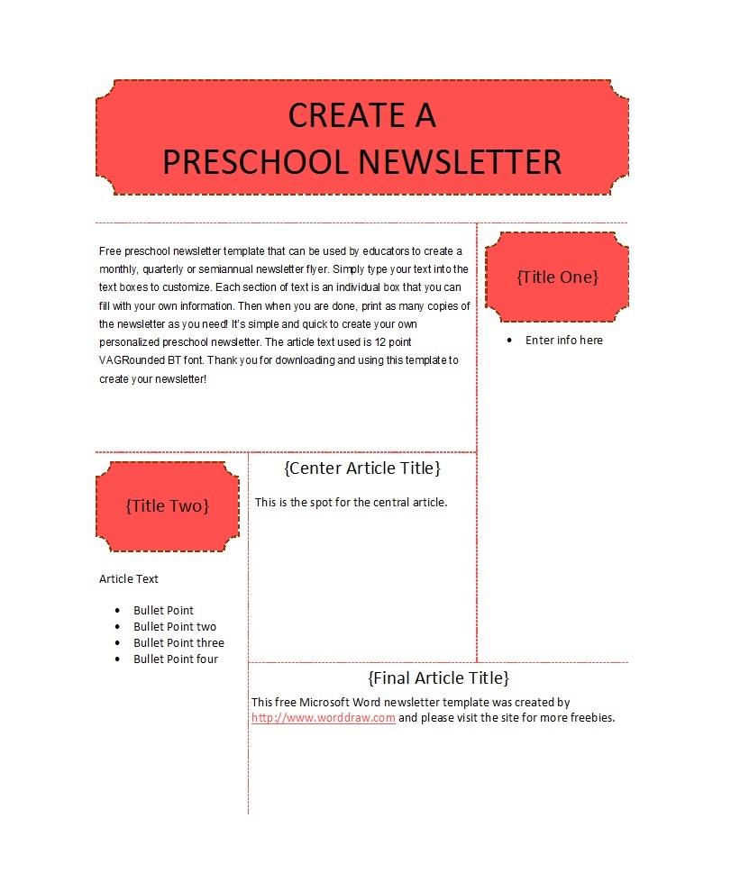 50 Creative Preschool Newsletter Templates (+Tips) ᐅ Template Lab - Free Printable Preschool Newsletter Templates