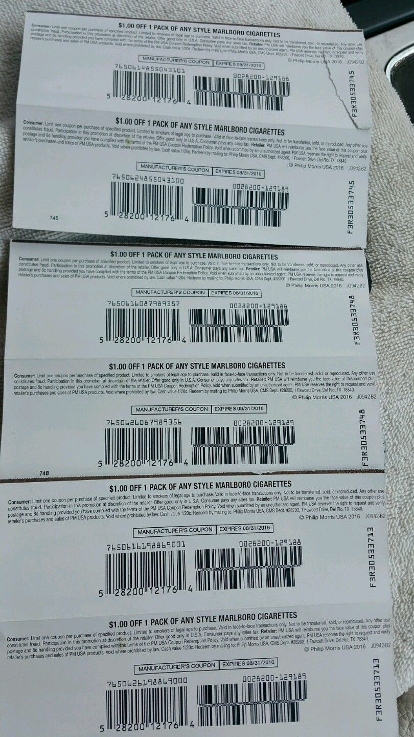 6) $1.00 Off Any Style Marlboro Cigarettes Expires 8/31/2016 - Free Printable Cigarette Coupons