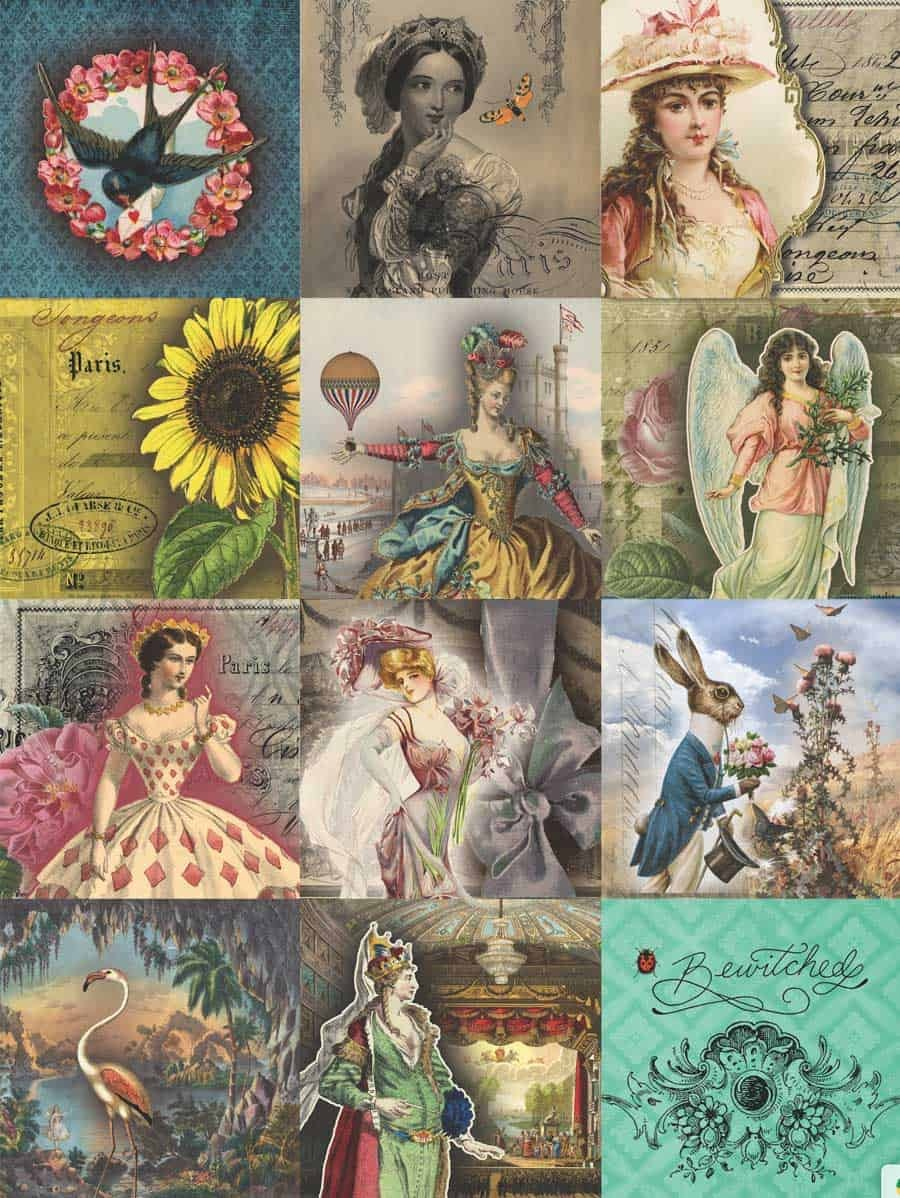 7 Free Creative Collage Sheet Printables For Decoupage Tissue Paper - Free Printable Picture Collage