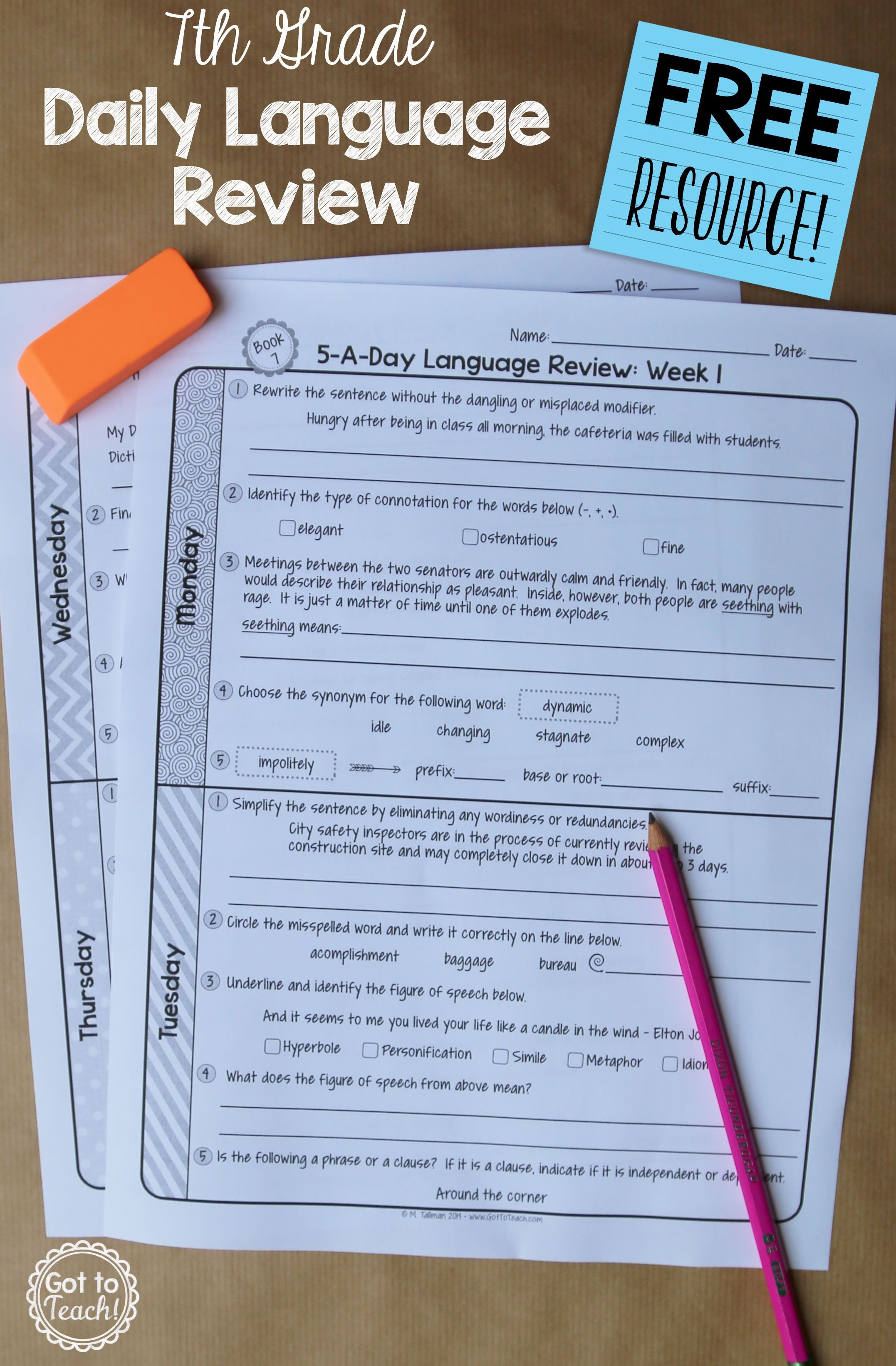 7Th Grade Daily Language Review - 1 Week Free | Middleschoolmaestros - Daily Language Review Grade 5 Free Printable
