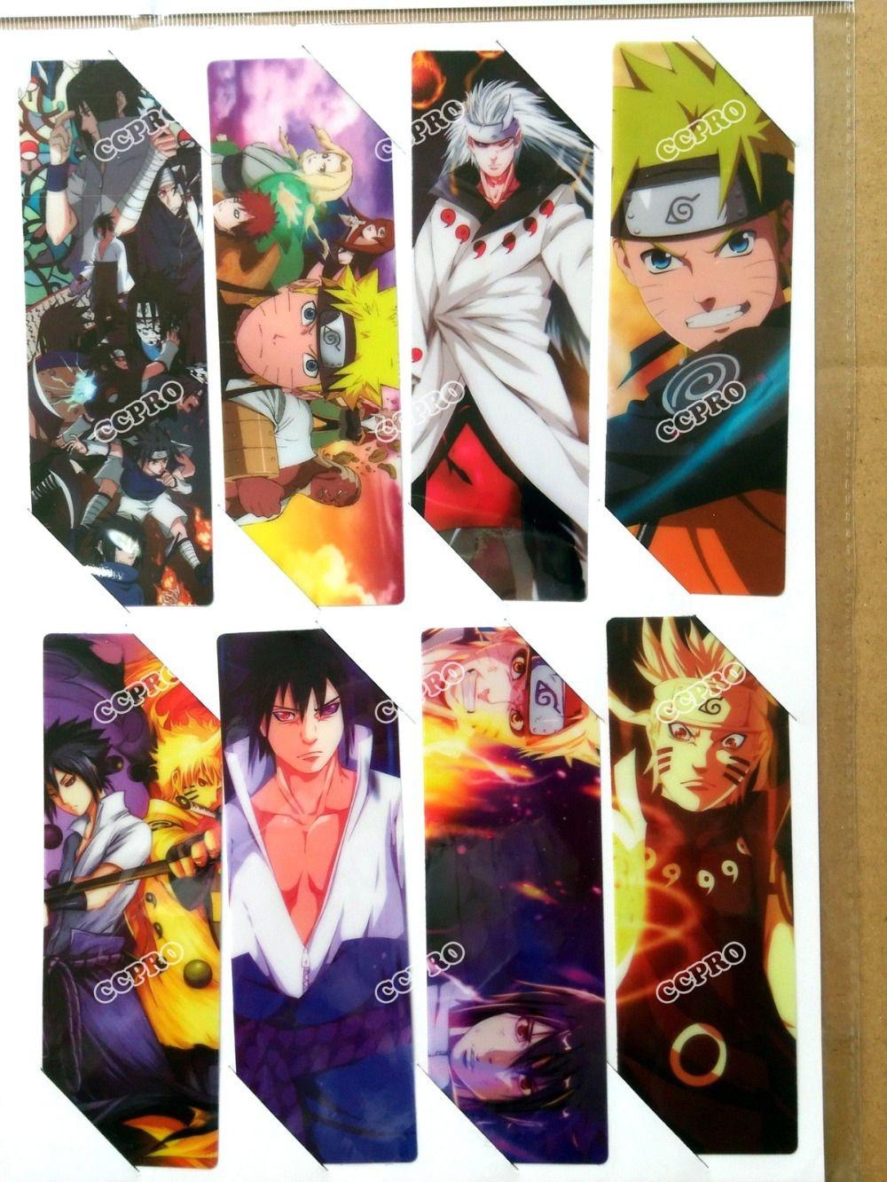 8Pcs/set Pvc Anime Bookmarks Printed With Anime Naruto Uchiha Sasuke - Anime Bookmarks Printable For Free