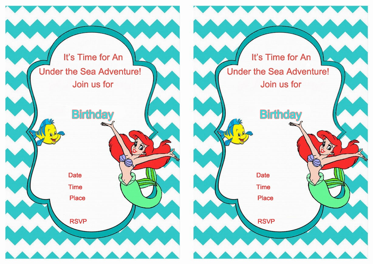 98+ Ariel Birthday Invitations Printable - Birthday Ariel - Mermaid Birthday Invitations Free Printable