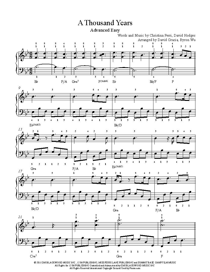 A Thousand Yearschristina Perri Piano Sheet Music | Advanced Level - Free Printable Sheet Music For Piano Beginners Popular Songs