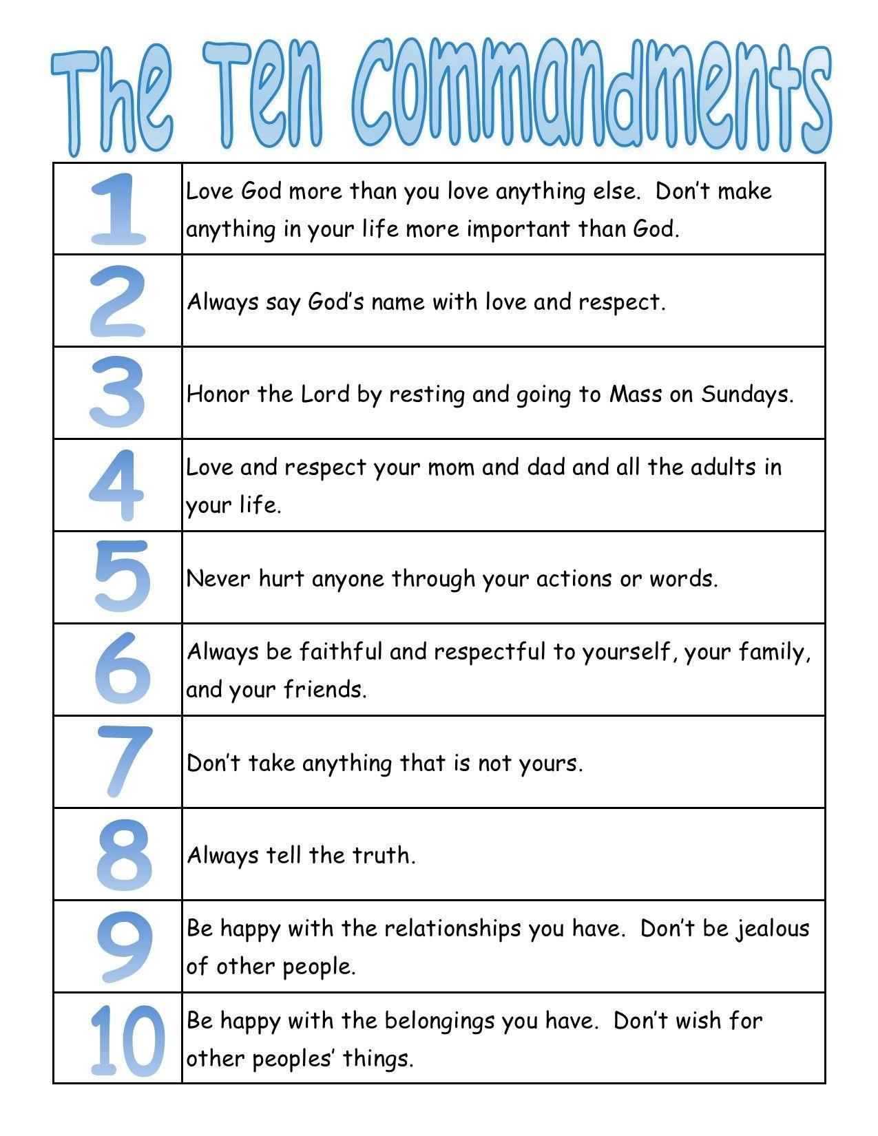 A True Catholic Version Of The Ten Commandments, For Kids | The - Free Catholic Ten Commandments Printable