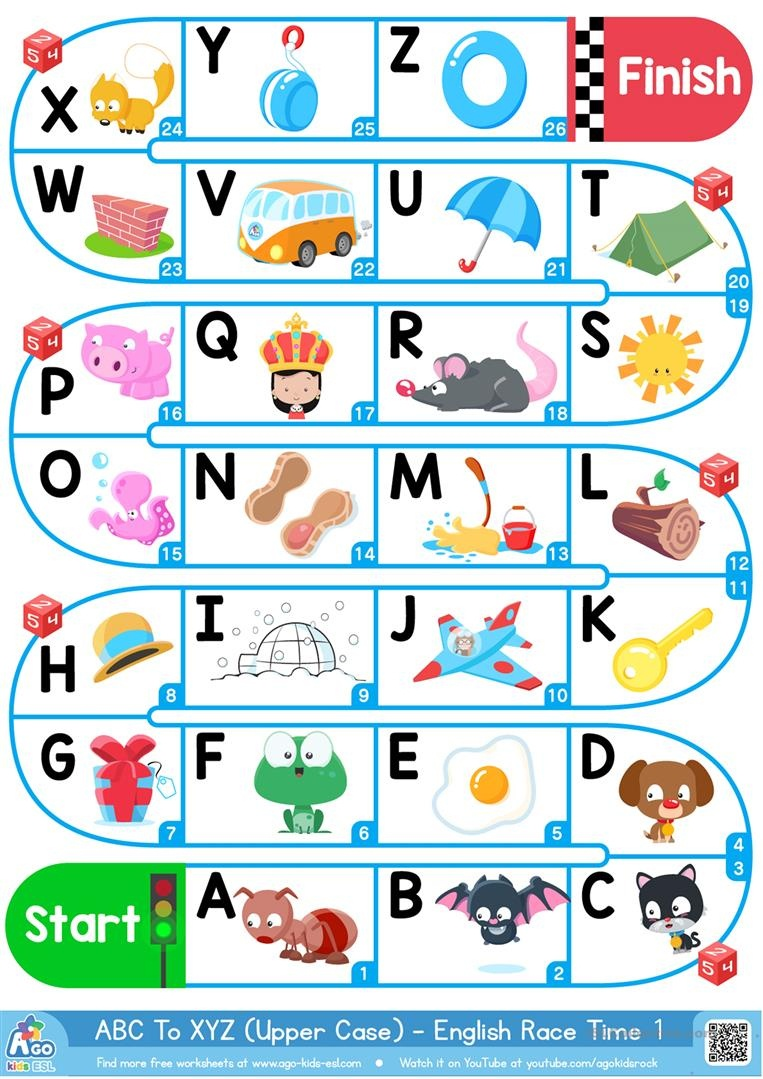 A-Z Upper Case Alphabet - Esl Board Game Worksheet - Free Esl - Free Printable Alphabet Board Games