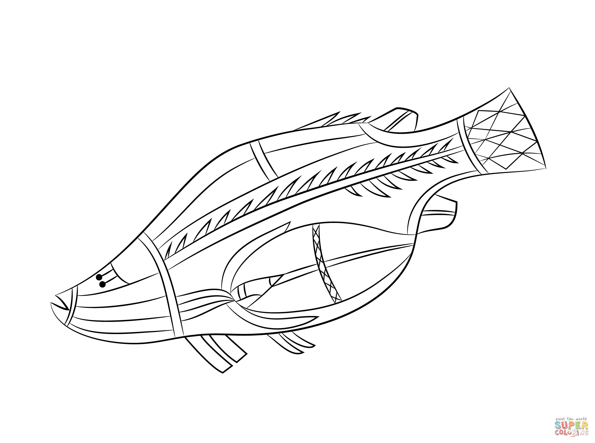 Aboriginal Rock Painting Of Fish Coloring Page | Free Printable - Free Printable Aboriginal Colouring Pages