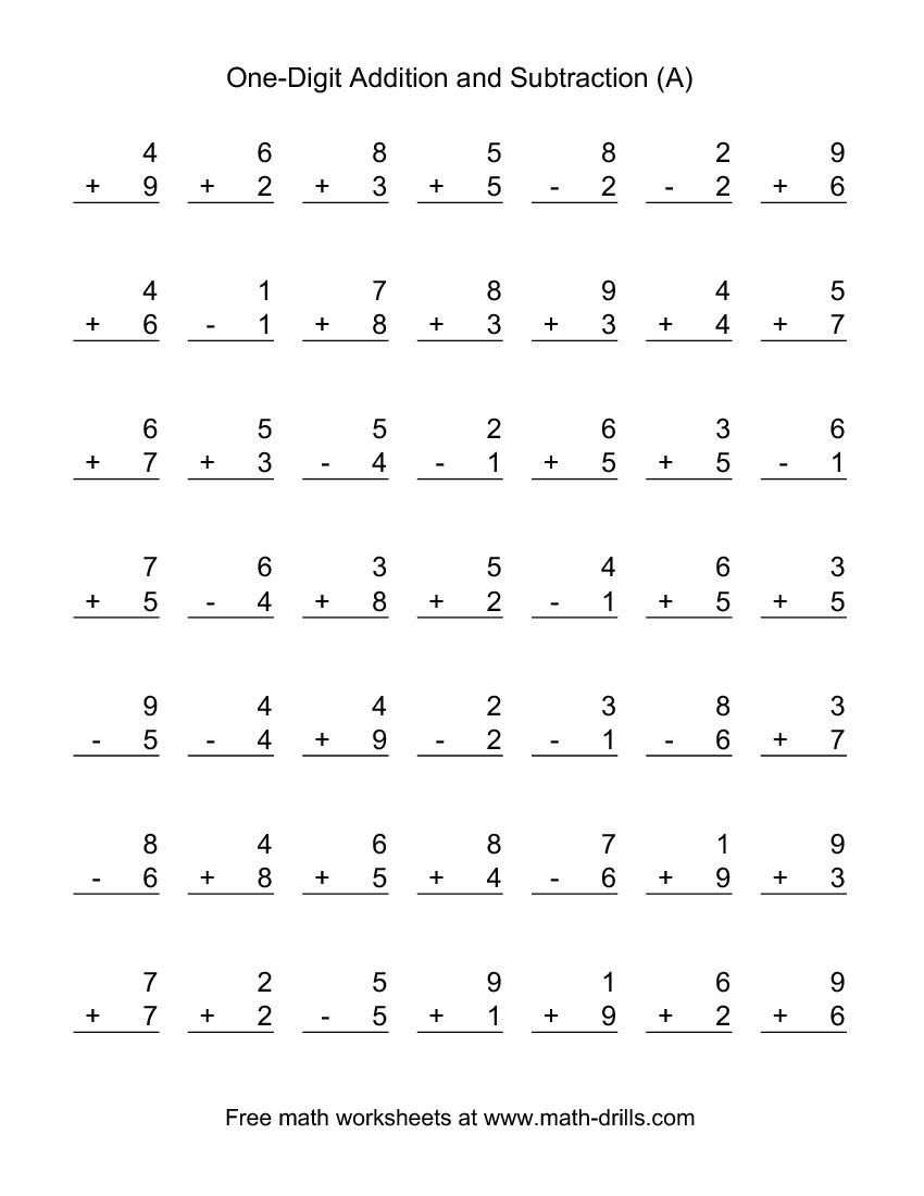 Adding And Subtracting Single-Digit Numbers (A) | Kid Stuff - Free Printable Addition And Subtraction Worksheets