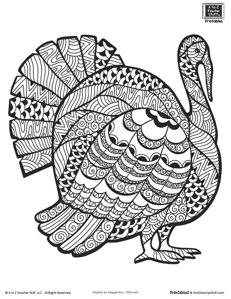 Advanced Coloring Page For Older Students Or Adults: Thanksgiving - Free Printable Thanksgiving Coloring Pages
