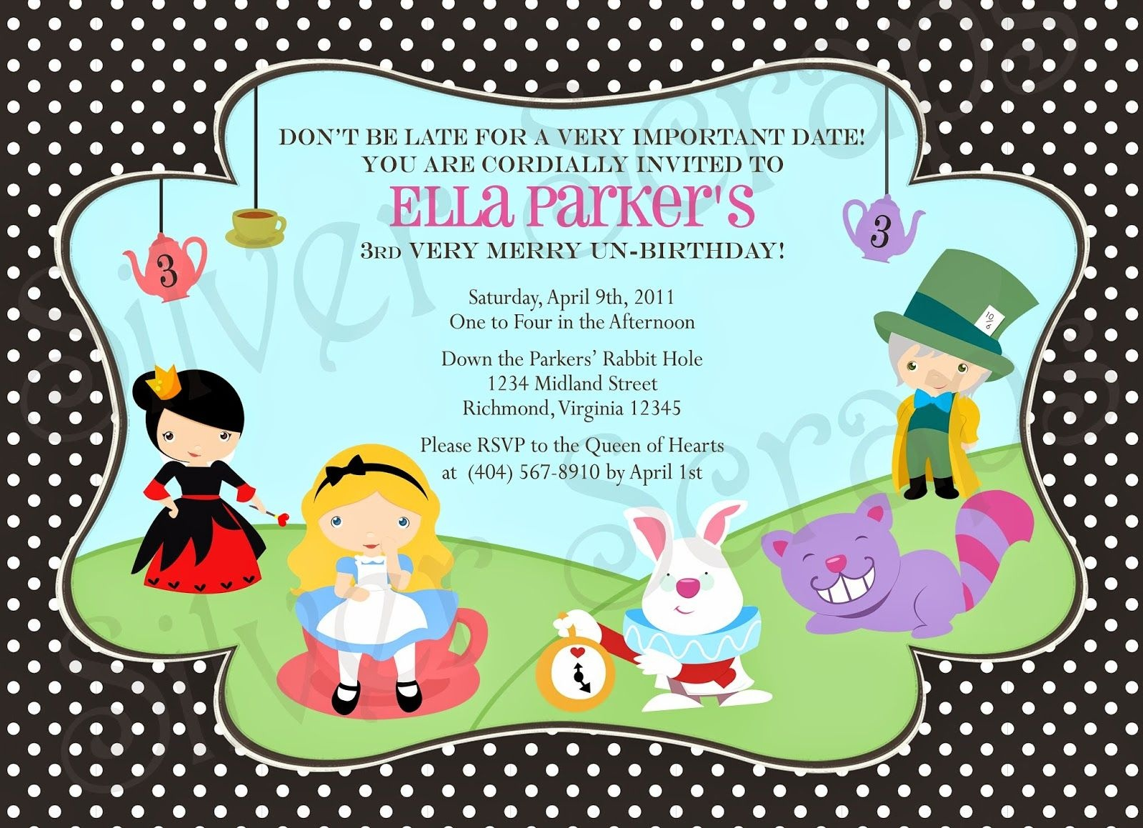 Alice In Wonderland Birthday Invitations Free Printable | Alice - Mad Hatter Tea Party Invitations Free Printable