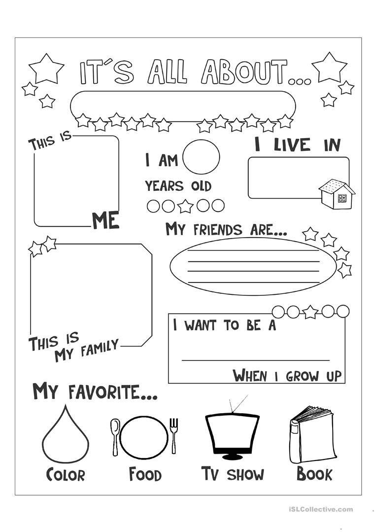 All About Me Worksheet - Free Esl Printable Worksheets Made - All About Me Free Printable