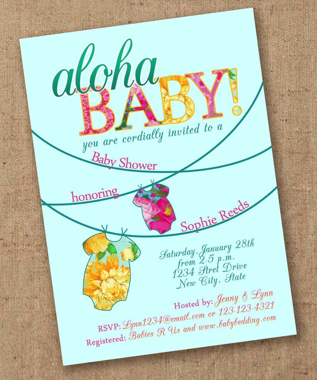 Aloha Baby Shower Invitation Luau Etsy Invitations 8 - Wadatlanta - Free Printable Luau Baby Shower Invitations