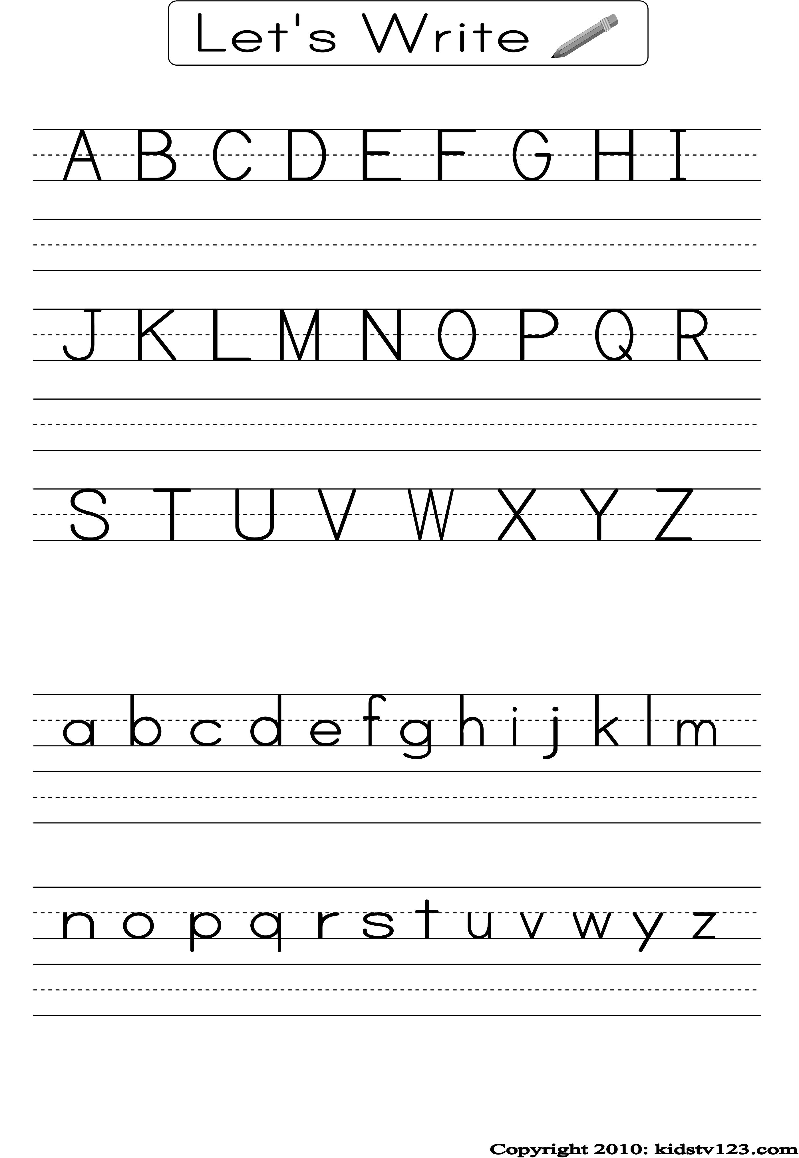 Alphabet Writing Practice Sheet | Edu-Fun | Alphabet Worksheets - Preschool Writing Worksheets Free Printable