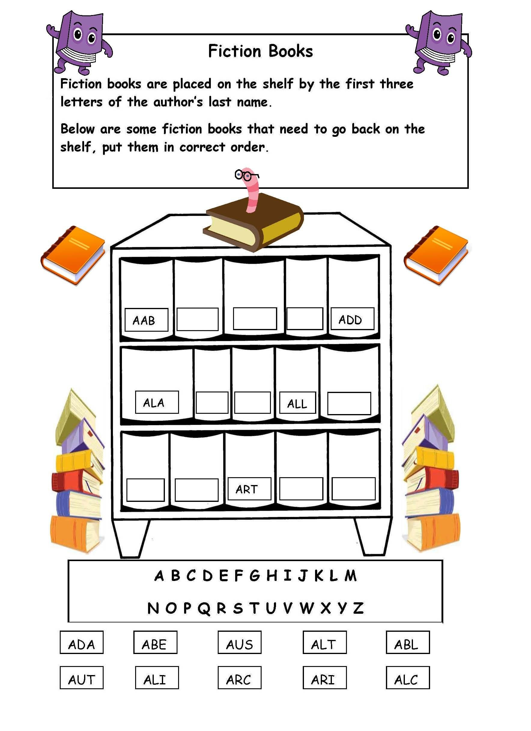 Alphabetical Order On The Shelf - Worksheet. | Library Skills - Free Library Skills Printable Worksheets