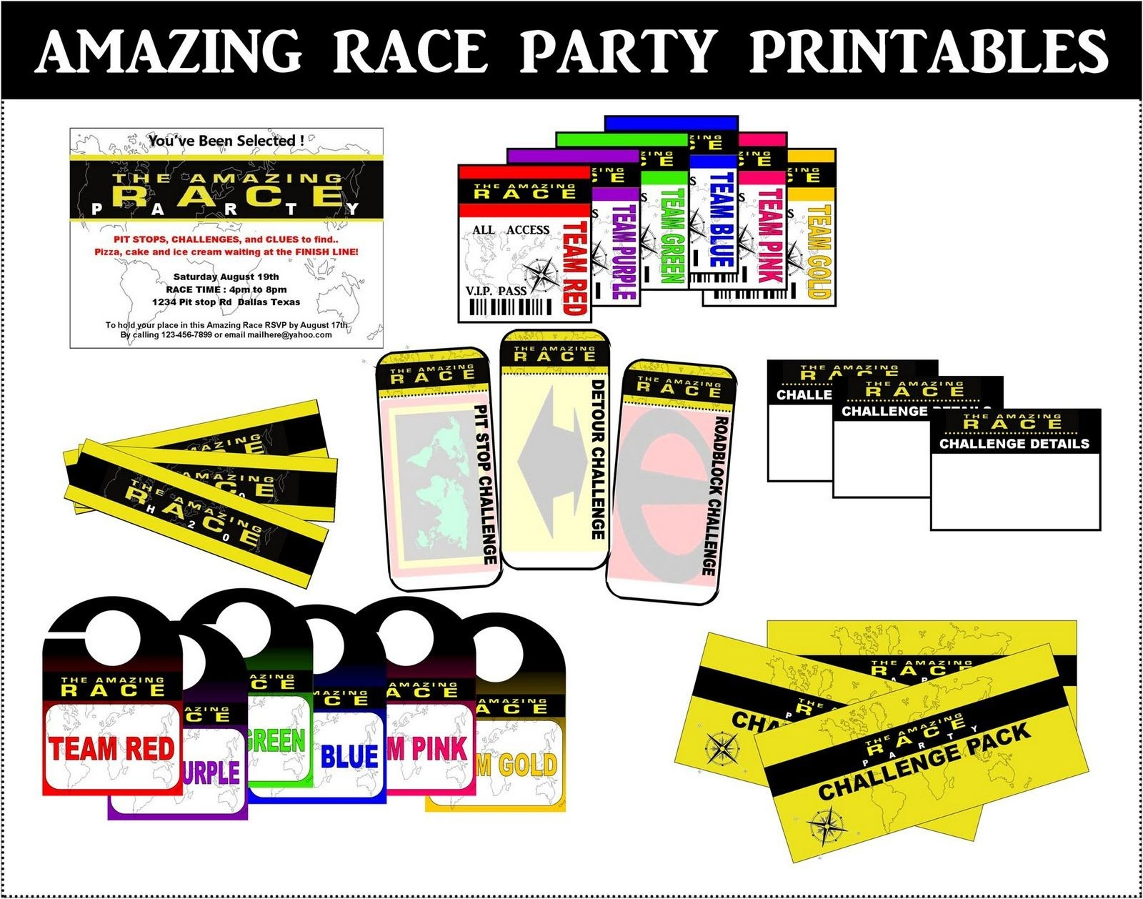 Amazing Race Printables Free - Google Search | Amazing Race - Free Printable Amazing Race Invitations