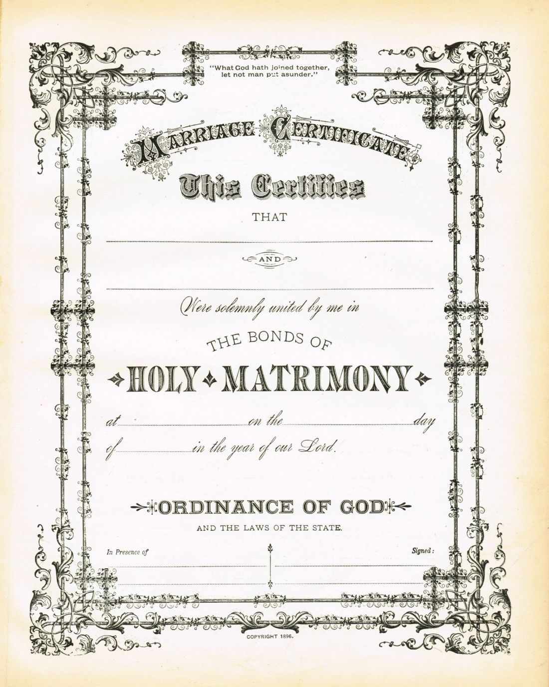 Antique Certificate Of Marriage Printable | English Wedding Project - Free Printable Wedding Certificates