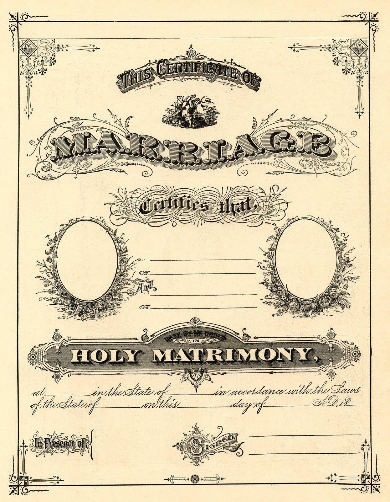 Antique Ephemera Clip Art - Printable Marriage Certificate | Free - Free Printable Wedding Certificates