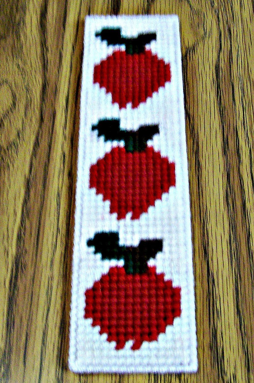 Apple Bookmark, Plastic Canvas Bookmark, Yarn Bookmark, Handmade - Free Printable Plastic Canvas Patterns Bookmarks