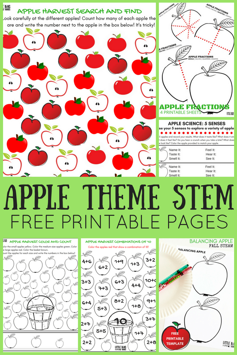 Apple Theme Worksheets And Apple Stem Activities {Free Pages} - Free Printable Stem Activities