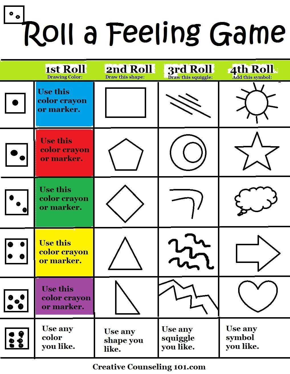 Art Therapy Roll-A-Feelings Game With Free Art Therapy Game Board - Free Printable Recovery Games