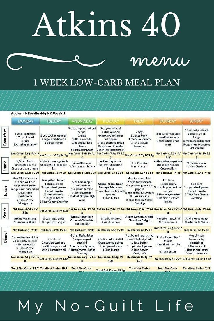 Atkins 40 | Lose Weight | Atkins 40 Meal Plan, Atkins Diet, No Carb - Free Printable Atkins Diet Plan