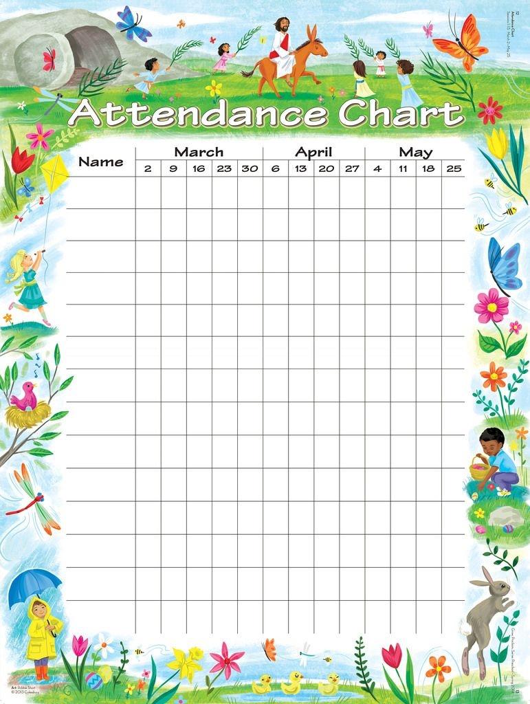 Attendance Chart | Children's Church | Attendance Chart, Sunday - Sunday School Attendance Chart Free Printable