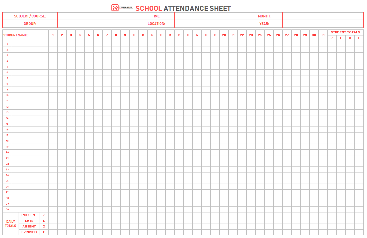 Attendance Sheet Template –Free Printable Daily Monthly Attendance Excel - Free Printable Attendance Sheets For Homeschool