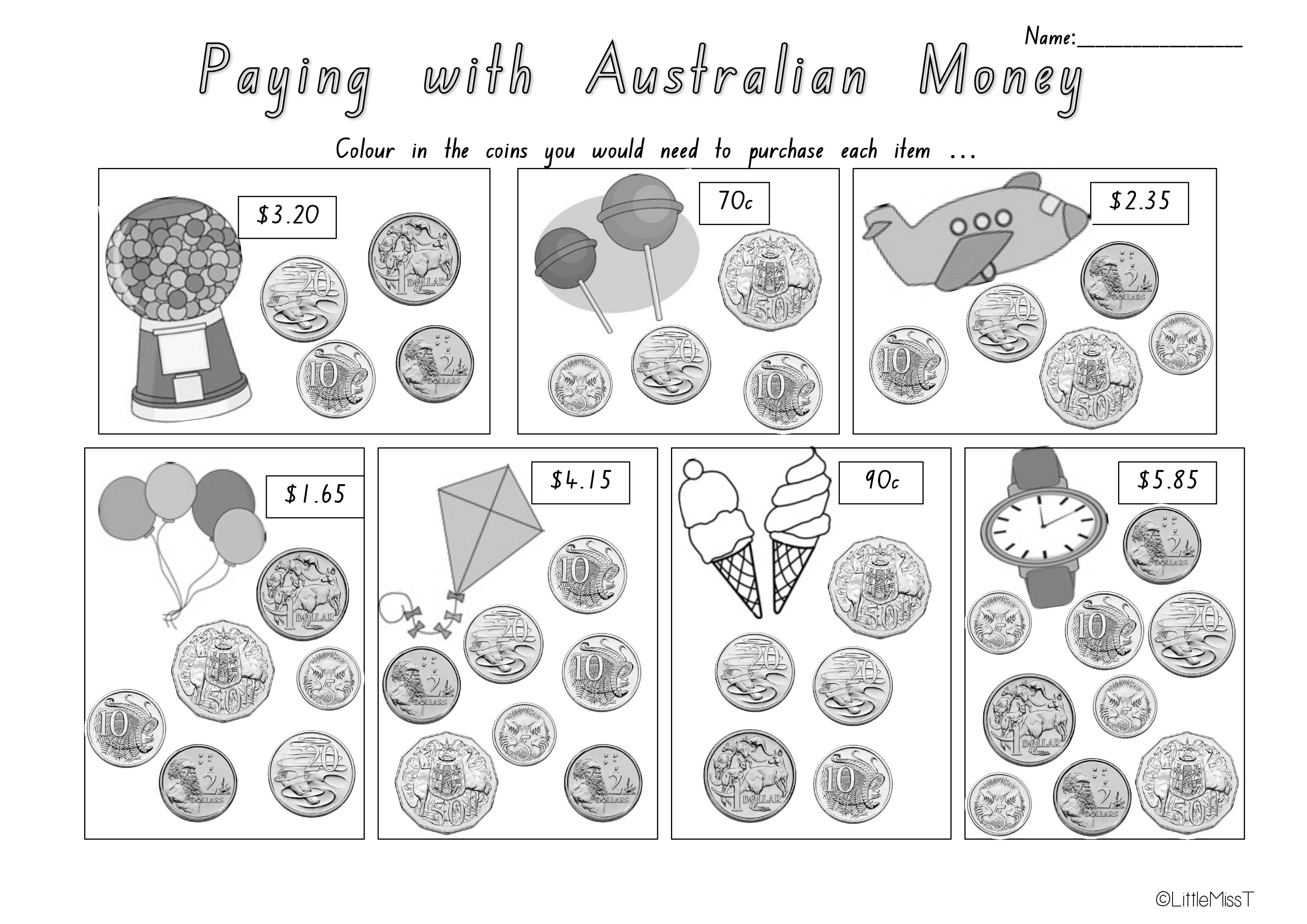 Australian Money Worksheets | Teach In A Box - Free Printable Australian Notes