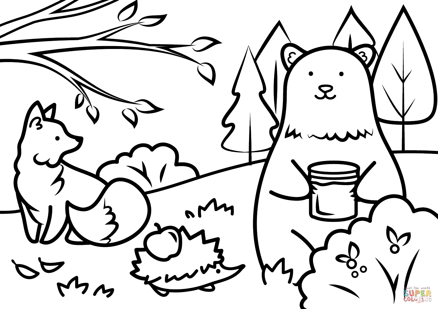 Autumn Animals Coloring Page | Free Printable Coloring Pages - Free Fall Printable Coloring Sheets