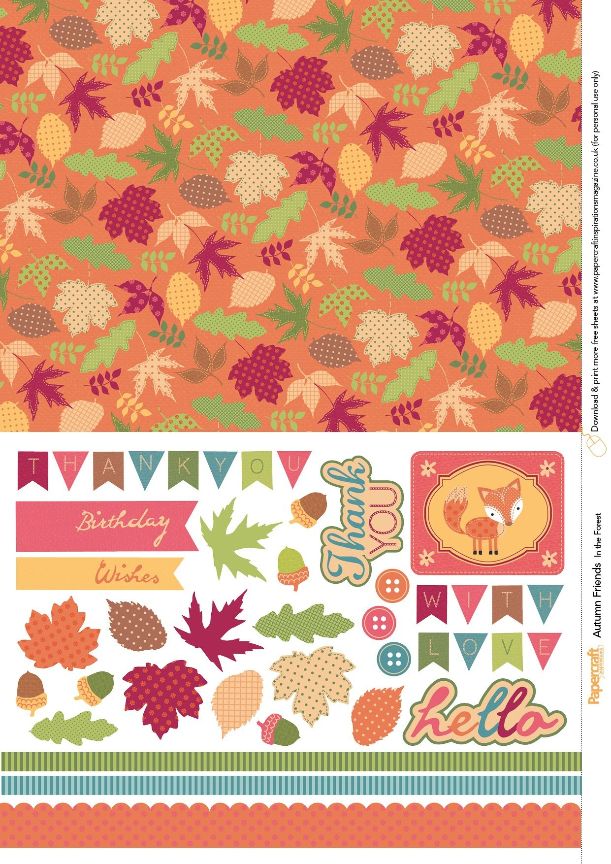 Autumn Friends Free Printables From Papercraft Inspirations Issue - Free Printable Autumn Paper