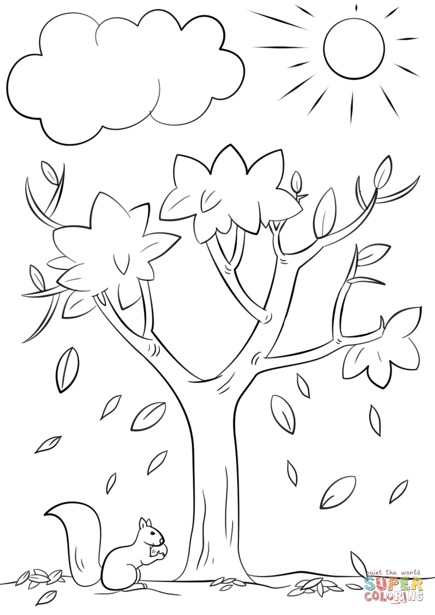 Autumn Tree Coloring Page   Free Printable Coloring Pages - Tree Coloring Pages Free Printable