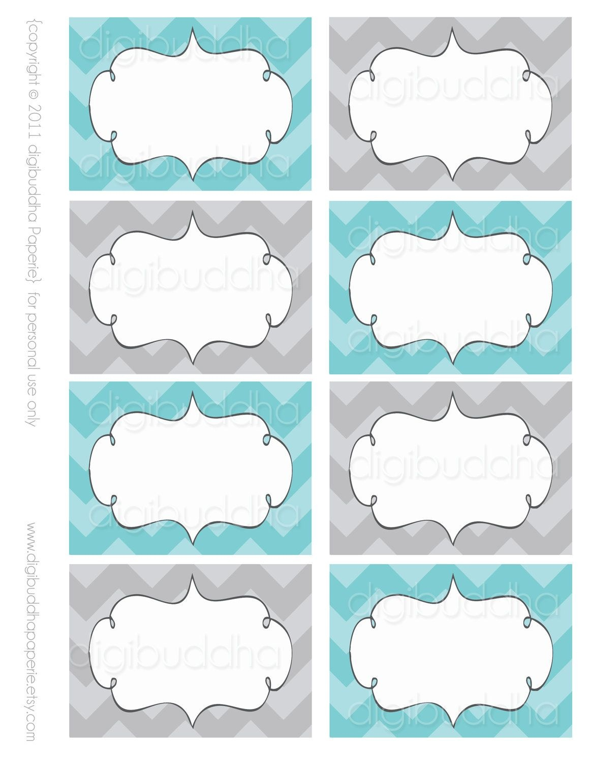 Ava Modern Chevron Candy Buffet Food Mailing Labels Cards. Printable - Free Printable Candy Buffet Labels Templates